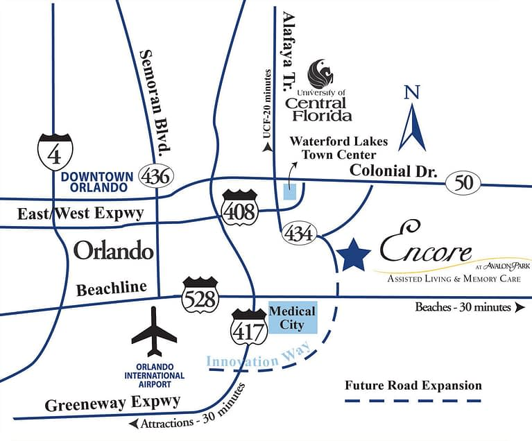 Directions map to find Encore at Avalon Park