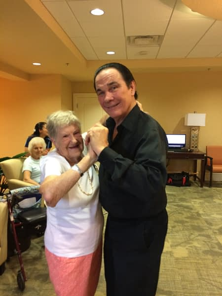 Two residents dancing