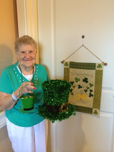 Female resident dressed up for St. Partricks day