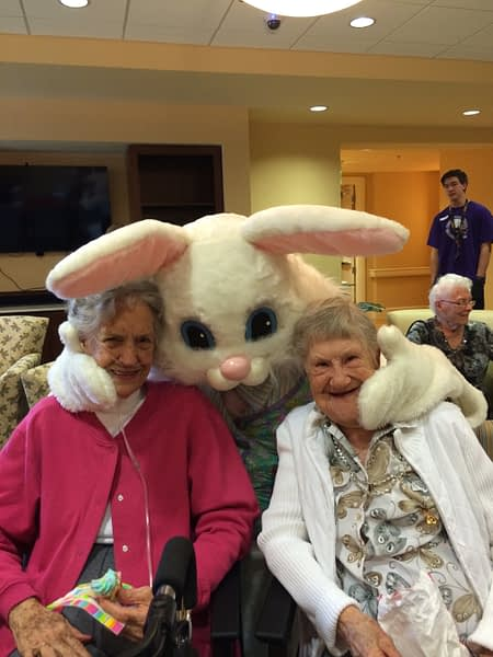 Residents posing with the Easter bunny