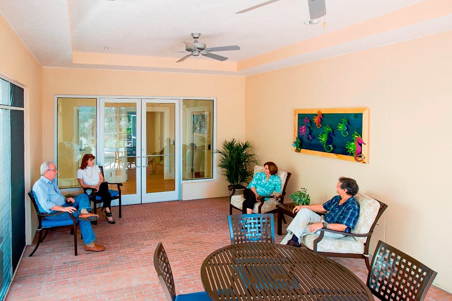 Residents relaxing on paitio