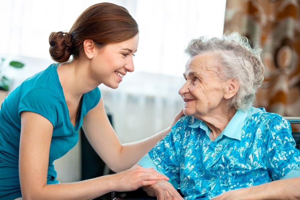 Caretaker talking to a resident